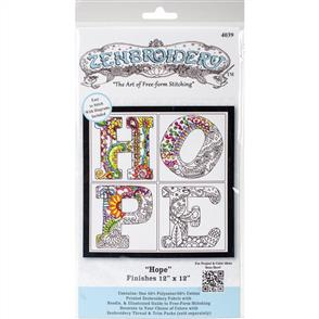 """Design Works Zenbroidery Stamped Embroidery - Hope 12"""" x 12"""""""