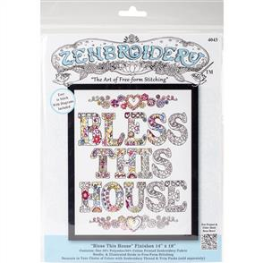 """Design Works Zenbroidery Stamped Embroidery - Bless This House 14"""" x 18"""""""