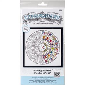 """Design Works Zenbroidery Stamped Embroidery - Sewing Mandala 12"""" x 12"""""""