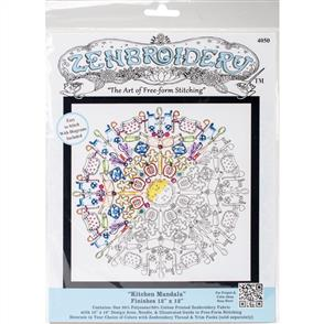 """Design Works Zenbroidery Stamped Embroidery - Kitchen Mandala 12"""" x 12"""""""