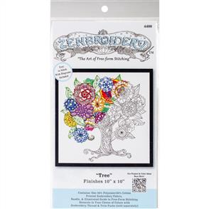 "Design Works  Zenbroidery Stamped Embroidery - Tree 10"" x 10"""