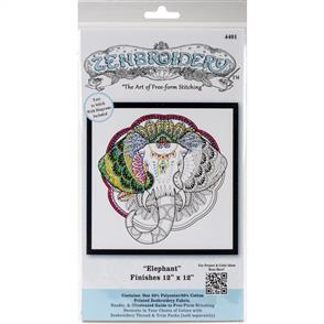 """Design Works Zenbroidery Stamped Embroidery - Elephant 12"""" x 12"""""""