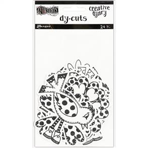 Ranger Ink  Dylusions Creative Dyary Die Cuts - Black & White Birds & Flowers