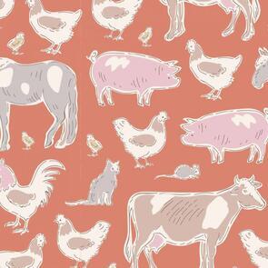 Tilda Tilda Fabric - Tiny Farm - Animals Ginger