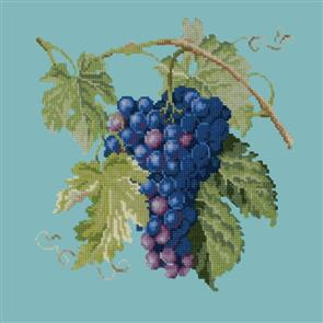 Elizabeth Bradley  Tapestry Kit - Grapes (Duck Egg Blue Background Wool)