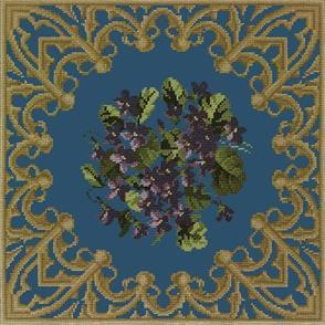 Elizabeth Bradley Tapestry Kit - A Posy of Violets (Dark Blue Background Wool)