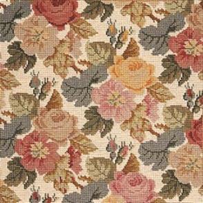 Elizabeth Bradley Tapestry Kit - Repeating Roses (Cream Background Wool)