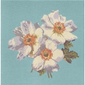 Elizabeth Bradley  Tapestry Kit - Anemones (Duck Egg Blue Background Wool)