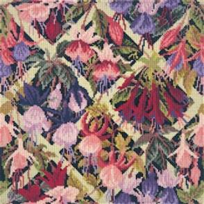 Elizabeth Bradley  Tapestry Kit - Fuchsia Trellis (Black Background Wool)