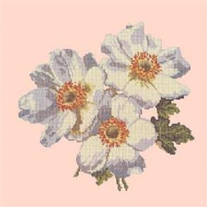 Elizabeth Bradley  Tapestry Kit - Anemones (Salmon Pink Background)