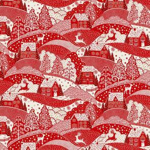 Makower Scandi Scenic - 2355 - Christmas - Red