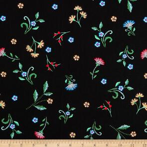 Benartex Embroidered Elegance - Embroidered Floral Buds Black