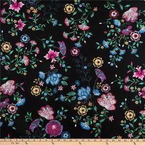 Benartex Embroidered Elegance - Embroidered Bouquet Black
