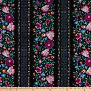 Benartex Embroidered Elegance - Embroidered Stripe Black