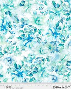 "P & B Textiles Emma - 4400 - Blue / Green - Floral - 108"" (274cm)"