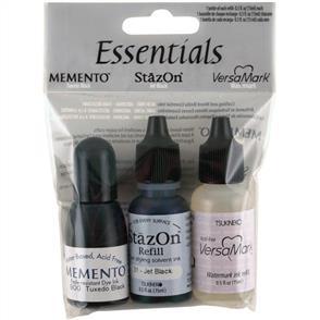 TSUKINEKO Essentials Ink Refills .5oz 3/Pkg - Memento, StazOn & Versamark