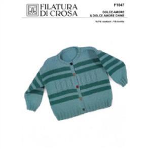 Filatura Di Crosa  F1047 Cable and Stripe Cardigan