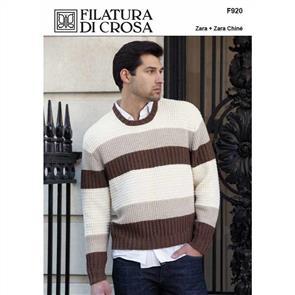 Filatura Di Crosa  F920 Spoleto Men's Texture-Stripe Pullover