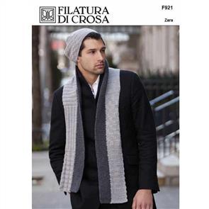Filatura Di Crosa  Pattern F921 Treviso Men's Hat and Scarf