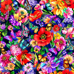Oasis Fabric Fantasy II - Floral and Butterflies - Multicoloured - 59-444