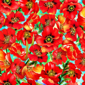 Oasis Fabric Fantasy II - Floral - Red - 59-445