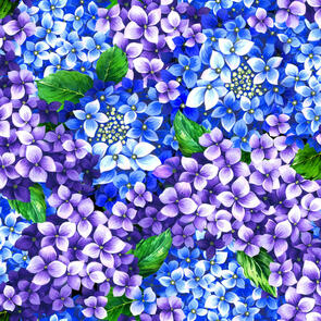 Oasis Fabric Fantasy II - Floral - Purple and Blue - 59-449