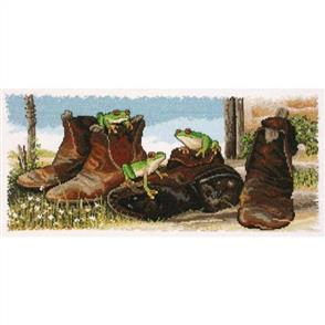Country Threads  Counted Cross Stitch Kit: Frogs in Boots