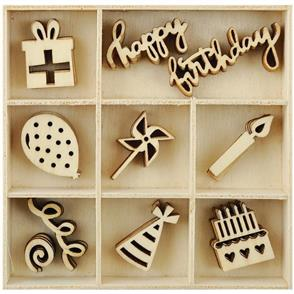 Kaisercraft  Mini Wooden Flourishes 50/Pkg - Party