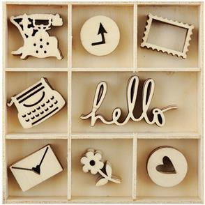 Kaisercraft Mini Wooden Flourishes 40/Pkg - Hello
