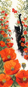 Bothy Threads  Cat & Poppies - Cross Stitch Kit