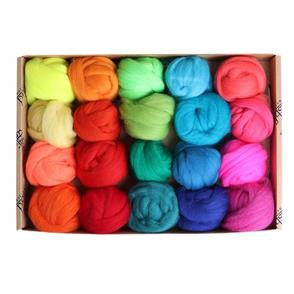Ashford  Corriedale Fibre Sampler Pack #2 - 20 Colours - Brights