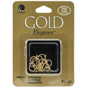 Cousin 14k Plated Gold Elegance Beads & Findings - Small Ball Hooked Earrings 8/Pkg