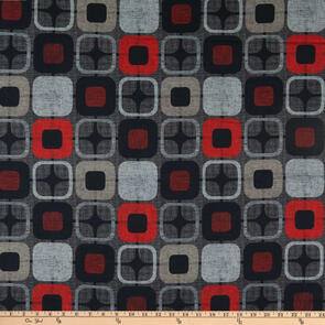 "Blank Quilting Geo Squares 108"" Red/Black"