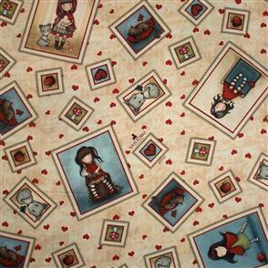 Quilting Treasures Santoro Gorjuss Fabric: My Story Character Toss - Tan