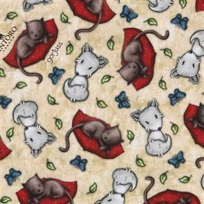 Quilting Treasures Santoro Gorjuss Fabric: My Story Animal Toss - Tan