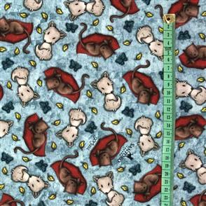 Quilting Treasures Santoro Gorjuss Fabric: My Story Animal Toss - Blue