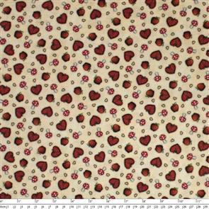 Quilting Treasures Santoro Gorjuss Fabric: My Story Heart Toss - Tan
