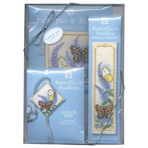 Textile Heritage  Gift Pack - Cross Stitch Kits - Butterflies & Buddleias