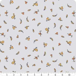 Clothworks  Guess How Much I Love You - Birds & Feathers Grey