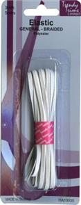 Trendy Trims  Braided Elastic (White - 3mm x 5mtrs)