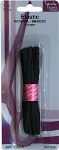 Trendy Trims  Braided Elastic (Black - 3mm x 5mtrs)
