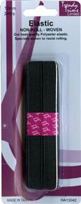 Trendy Trims  Woven Non-roll Elastic (Black - 12mm x 2mtrs)