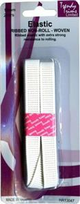 Trendy Trims Ribbed Non-roll Woven Elastic (White - 12mm x 2mtrs)