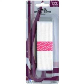 Trendy Trims  Knitted Elastic (White - 32mm x 1mtr)