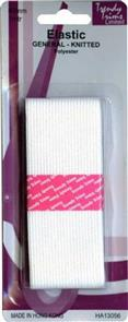 Trendy Trims Knitted Elastic (White - 40mm x 1mtr)