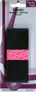 Trendy Trims Knitted Elastic (Black - 40mm x 1mtr)