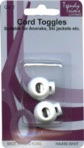 Trendy Trims : Cord Toggles (White) 2/Pkg