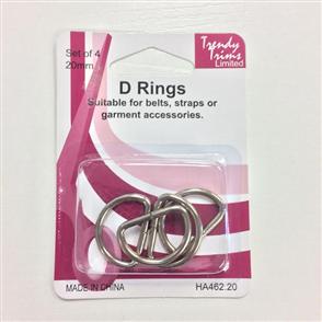 Trendy Trims  : D Rings 20mm 4sets/Pkg