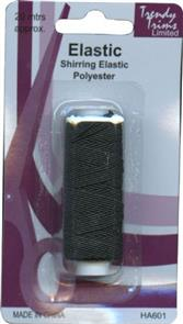 Trendy Trims Shirring Polyester Elastic (Black - approx. 20mtrs)