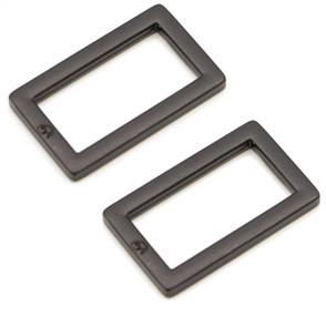 """ByAnnie Two-1"""" Flat Rectangle Rings - Black"""
